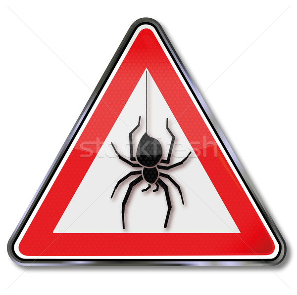 Stock photo: Sign with a spider