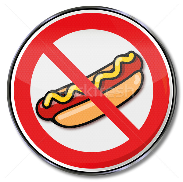 Prohibition sign for hot dogs with sausage and mustard Stock photo © Ustofre9