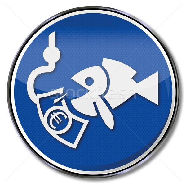 Escudo peixe pescaria gancho euro dinheiro Foto stock © Ustofre9