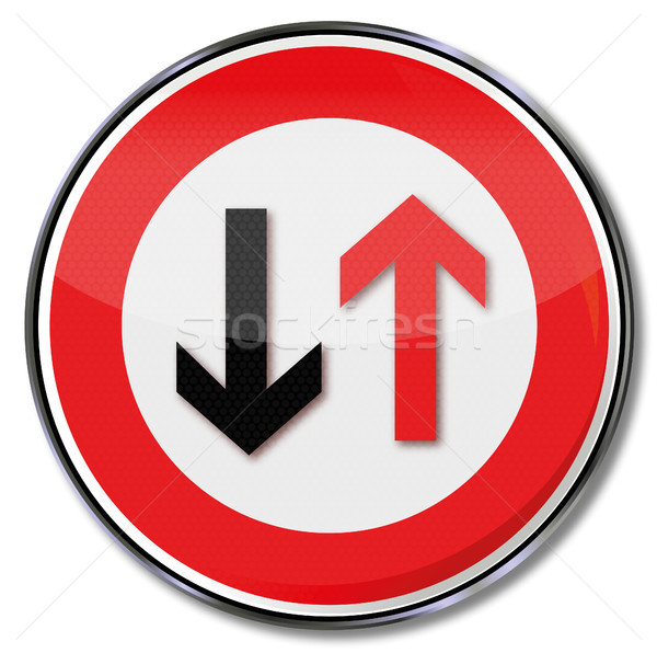 Figyelmeztető jel közelgő forgalom törvény feliratok nyíl Stock fotó © Ustofre9