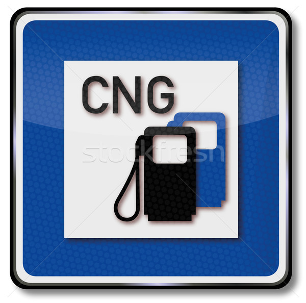 Traffic sign CNG gas filling station Stock photo © Ustofre9