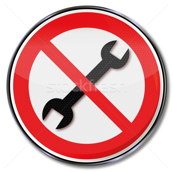 Prohibition sign for the wrench and repair itself Stock photo © Ustofre9