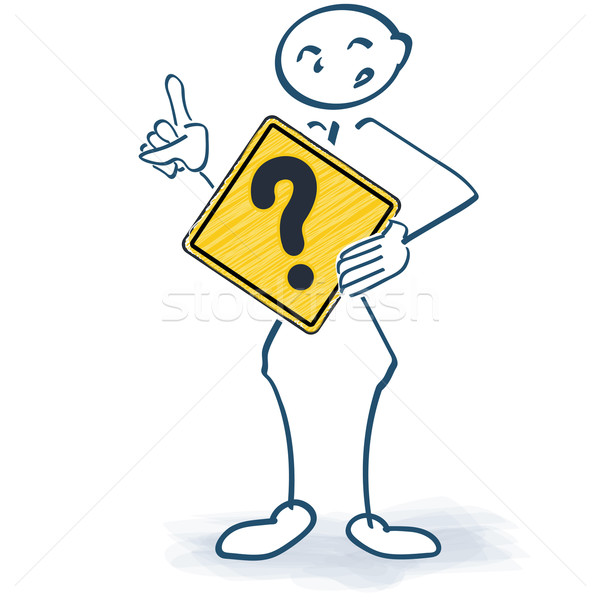 Stick figure with a sign and question mark in front of the body Stock photo © Ustofre9