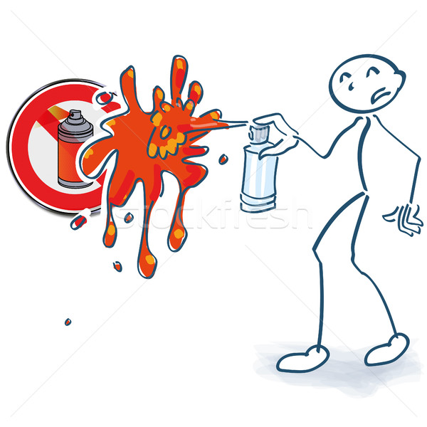 Stick figure with spray cans ban Stock photo © Ustofre9