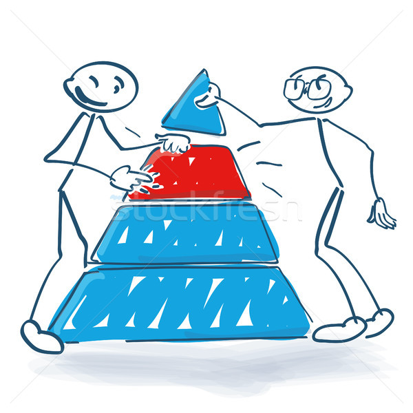 Stick figures with a pyramid and an important intermediate piece Stock photo © Ustofre9