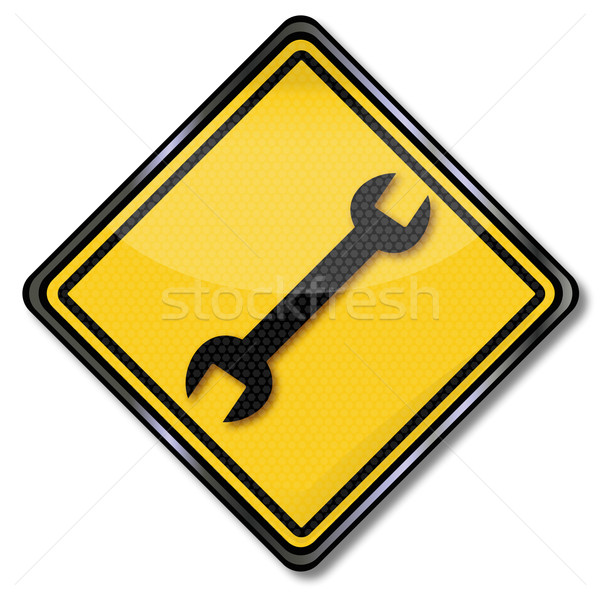Sign with wrench customer service, repair and self-help Stock photo © Ustofre9