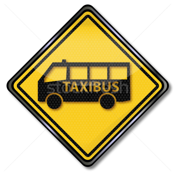 Teken taxi bus business plaat verkeer Stockfoto © Ustofre9