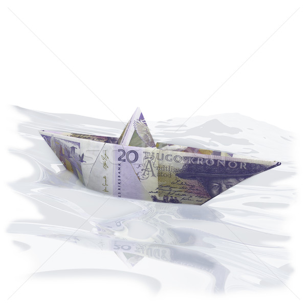 Little paper boat with 20 swedish Crowns Stock photo © Ustofre9