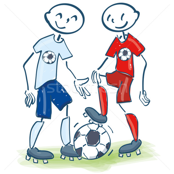 Stick figures as soccer friends Stock photo © Ustofre9