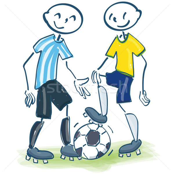 Stick figures as soccer players in yellow and blue Stock photo © Ustofre9