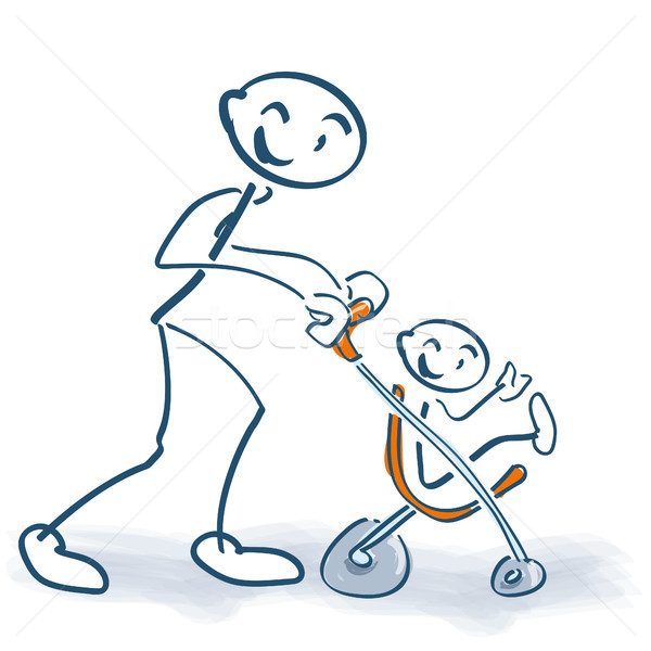 Stick figure with children buggy and little child Stock photo © Ustofre9