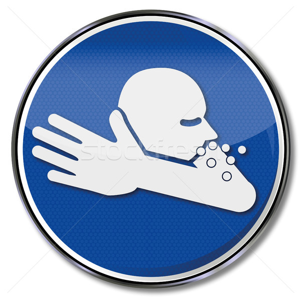 Sign with a cough in the crook of his arm and flu  Stock photo © Ustofre9