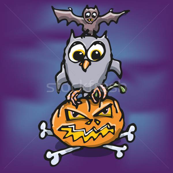 Stockfoto: Halloween · uil · pompoen · bot · bat · oranje