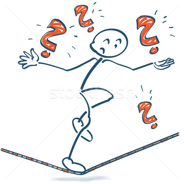 Stick figure on the rope with with question marks Stock photo © Ustofre9