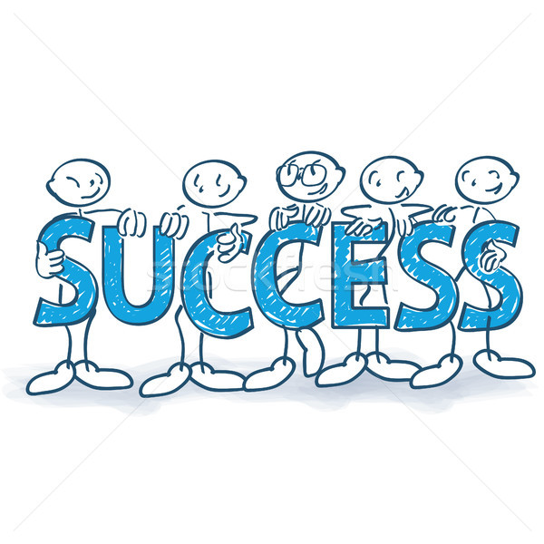 Stick figures with letters and success Stock photo © Ustofre9