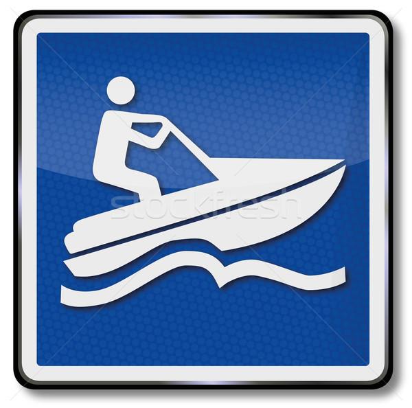 Gratis verzending borden teken recht boot meer Stockfoto © Ustofre9