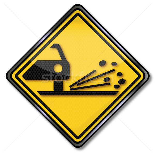 Sign caution gravel and car paint damage Stock photo © Ustofre9