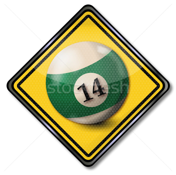 Sign billiard ball number 14 Stock photo © Ustofre9