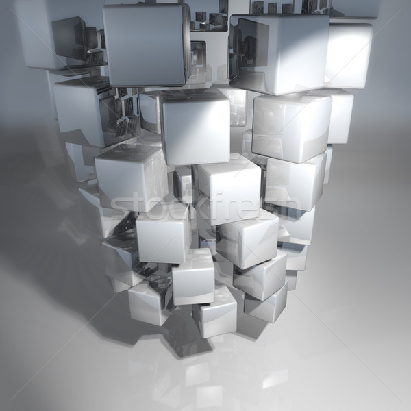 Turned silver cubes and background Stock photo © Ustofre9
