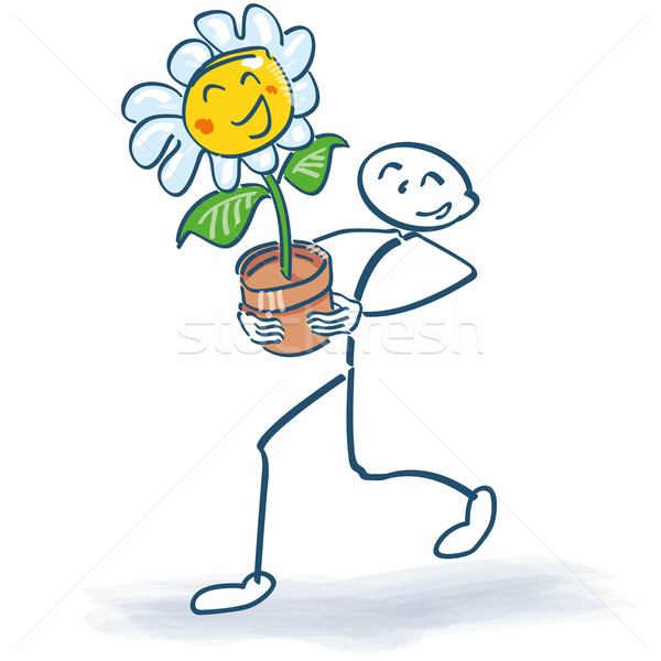 Stick figure with a flower in flowerpot Stock photo © Ustofre9