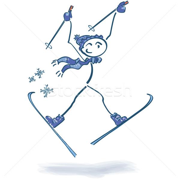 Stick figure школы снега горные гор запустить Сток-фото © Ustofre9