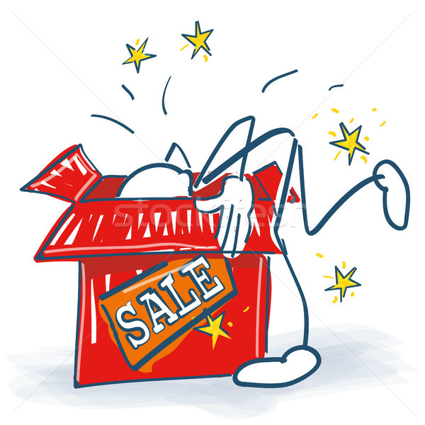 Stock photo: Stick figure looks deep into a box with sale
