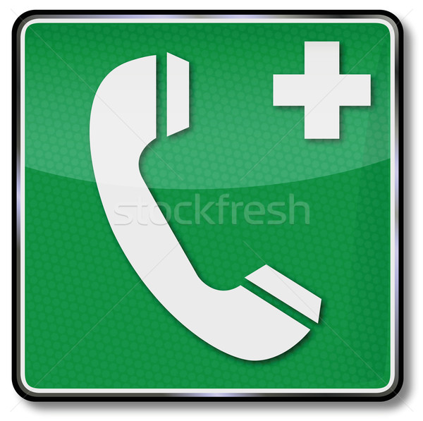 Fire safety sign telephone, cry for help and medical help Stock photo © Ustofre9