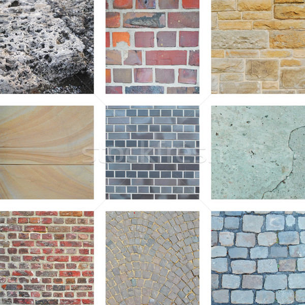 Nine images of bricks and building walls  Stock photo © Ustofre9