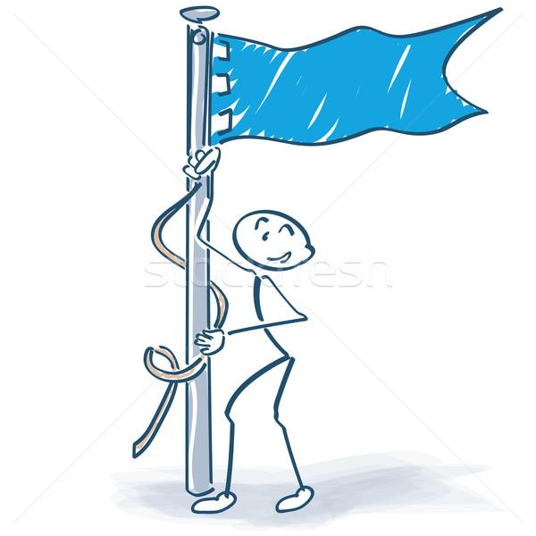 Hoist the flag stick figure Stock photo © Ustofre9