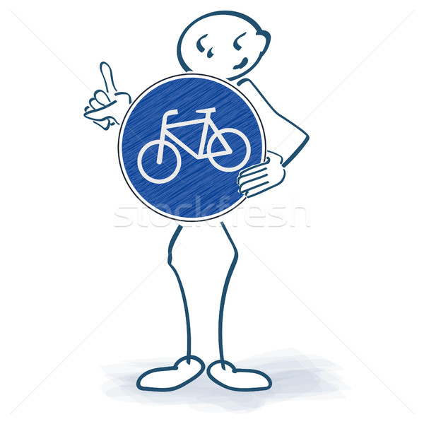 Stick figure with a bicycle sign in front of the body Stock photo © Ustofre9