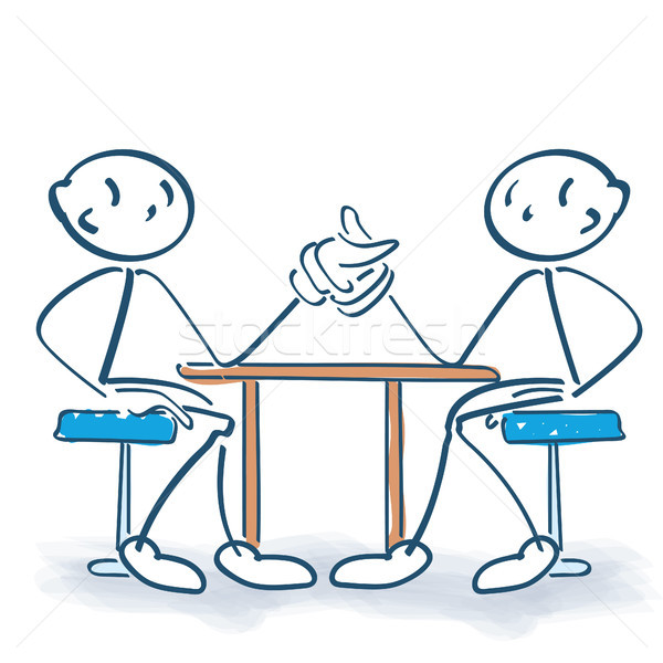 Stick figures and arm wrestling Stock photo © Ustofre9