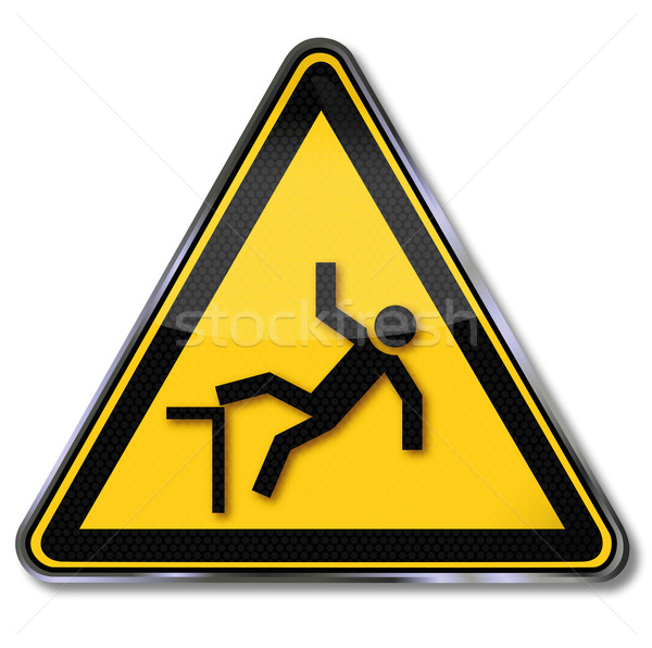 Stock photo: Warning sign and risk of falls