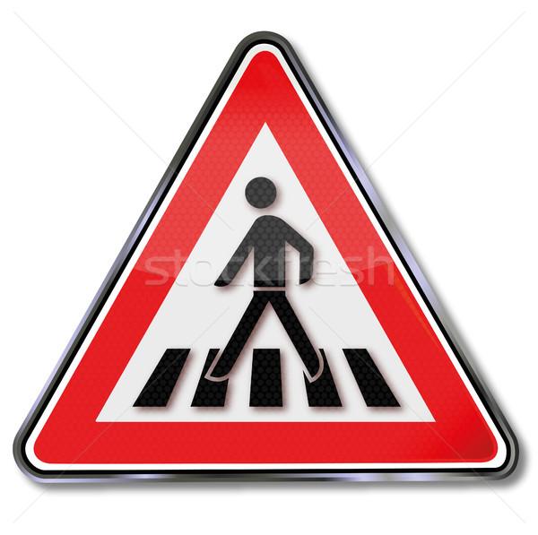 Warning sign crosswalk Stock photo © Ustofre9