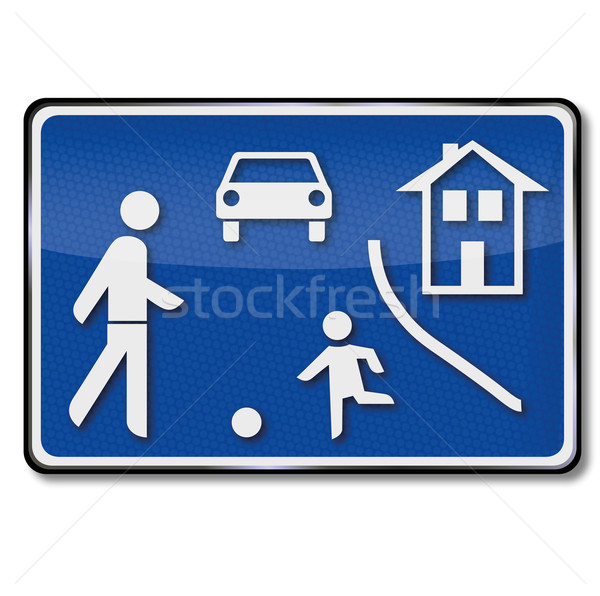 Traffic sign road game street and playing children  Stock photo © Ustofre9