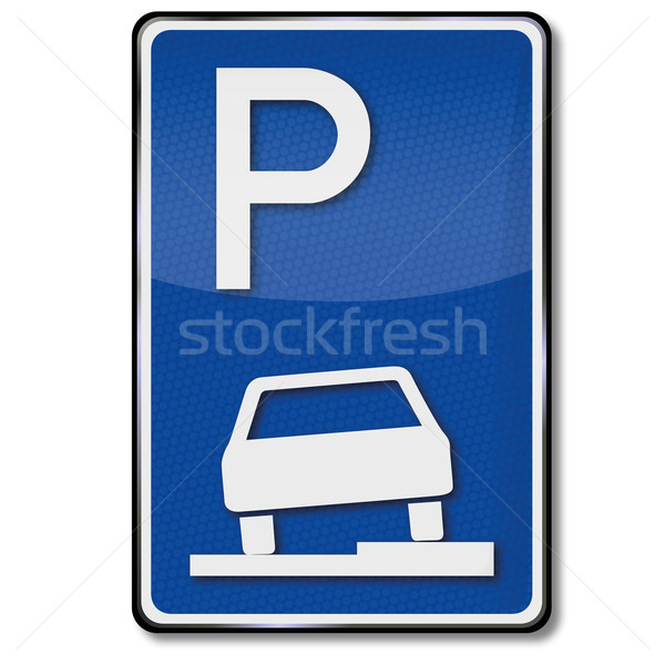 Traffic sign parking and please park on the curb Stock photo © Ustofre9