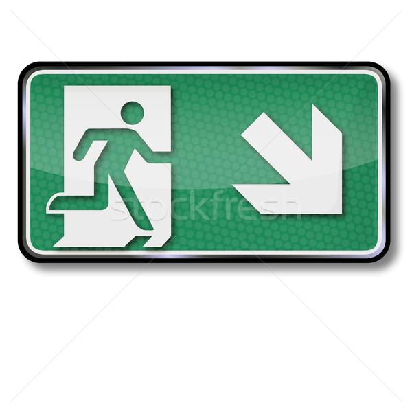 Exit sign Notfall verlassen senken richtig Feuer Stock foto © Ustofre9