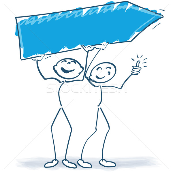 Two stick figures with a sign Stock photo © Ustofre9