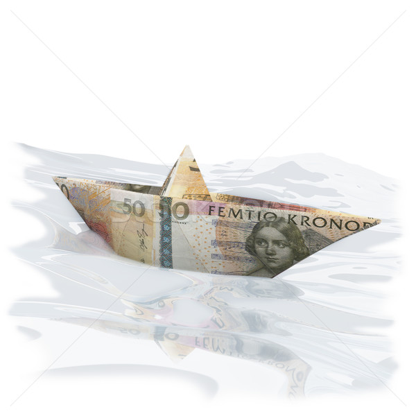 Little paper boat with 50 Swedish Crowns Stock photo © Ustofre9