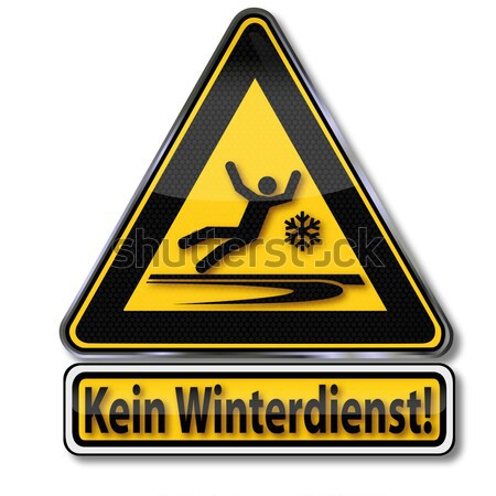 Voorzichtigheid geen winter dienst water weg Stockfoto © Ustofre9