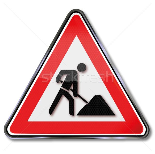 Stok fotoğraf: Kalkan · inşaat · imzalamak · yol · hukuk · işçi