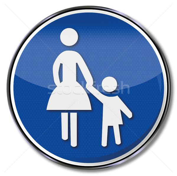 Felirat gyalogos gyermek biztonság forgalom feliratok Stock fotó © Ustofre9