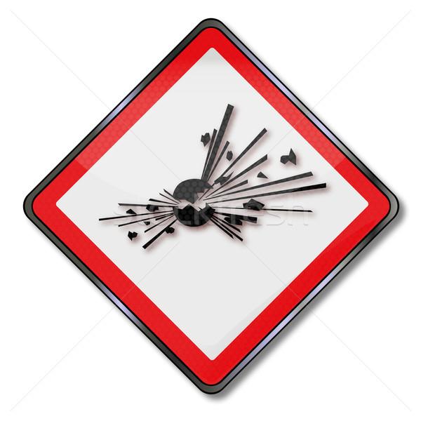 Znak niebezpieczeństwo niebezpieczeństwo wybuchu wybuchowy ognia lekarza Zdjęcia stock © Ustofre9
