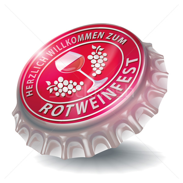 Stock photo: Bottle cap with red wine festival