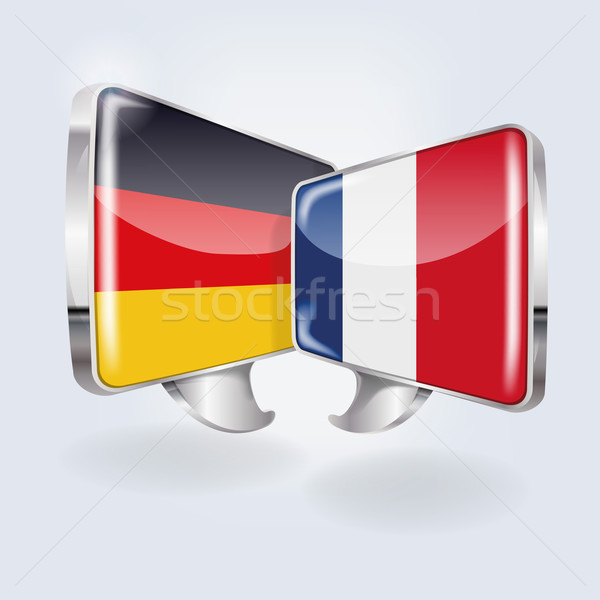 Bubbles and speech in german and french Stock photo © Ustofre9