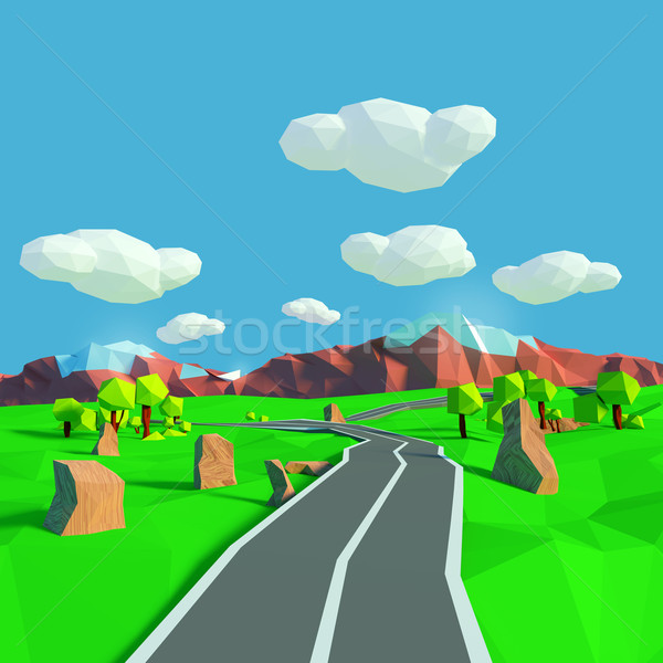 Small landscape with road toward the mountains Stock photo © Ustofre9