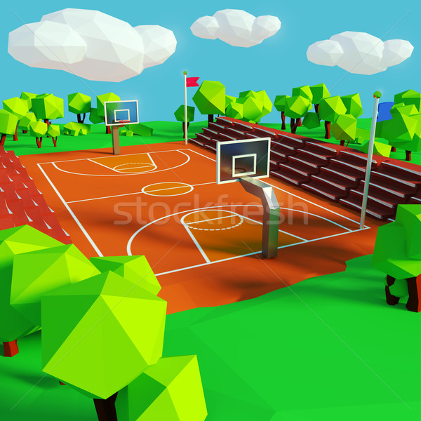 Basketball and basketball court Stock photo © Ustofre9