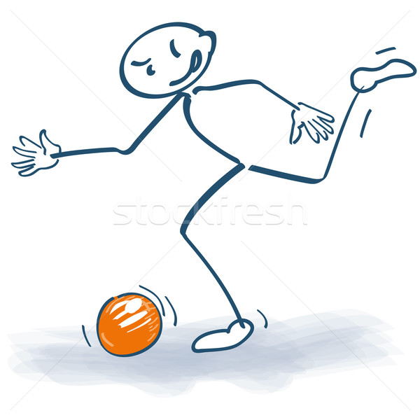 Stick figure with a soccer ball Stock photo © Ustofre9