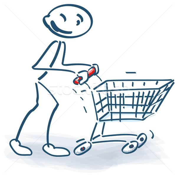 Pálcikaember bevásárlókocsi üzlet háló információ kosár Stock fotó © Ustofre9