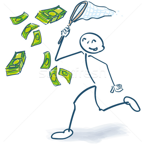 Stock photo: Stick figure catches with a cashier money