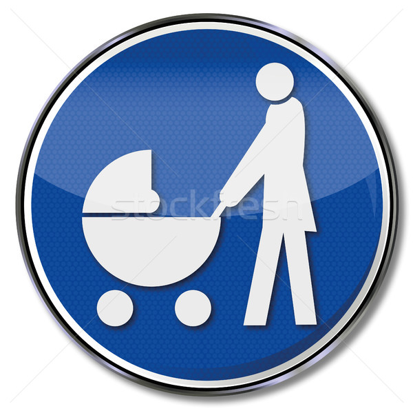 Sign mother with baby carriage Stock photo © Ustofre9